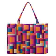 Abstract Background Geometry Blocks Medium Zipper Tote Bag