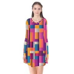 Abstract Background Geometry Blocks Flare Dress