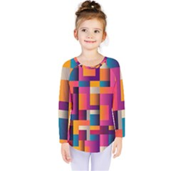 Abstract Background Geometry Blocks Kids  Long Sleeve Tee