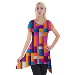 Abstract Background Geometry Blocks Short Sleeve Side Drop Tunic