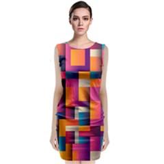 Abstract Background Geometry Blocks Sleeveless Velvet Midi Dress