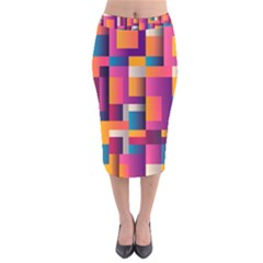 Abstract Background Geometry Blocks Velvet Midi Pencil Skirt