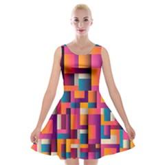 Abstract Background Geometry Blocks Velvet Skater Dress