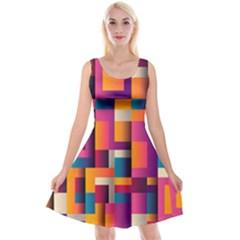 Abstract Background Geometry Blocks Reversible Velvet Sleeveless Dress