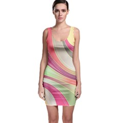 Abstract Colorful Background Wavy Sleeveless Bodycon Dress