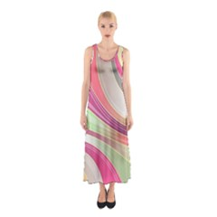 Abstract Colorful Background Wavy Sleeveless Maxi Dress