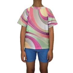 Abstract Colorful Background Wavy Kids  Short Sleeve Swimwear
