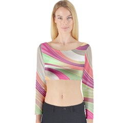 Abstract Colorful Background Wavy Long Sleeve Crop Top