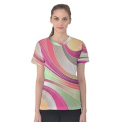 Abstract Colorful Background Wavy Women s Cotton Tee