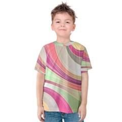 Abstract Colorful Background Wavy Kids  Cotton Tee