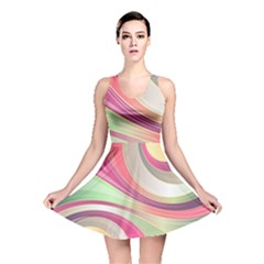 Abstract Colorful Background Wavy Reversible Skater Dress