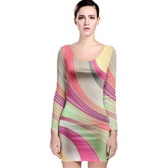 Abstract Colorful Background Wavy Long Sleeve Bodycon Dress