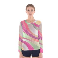 Abstract Colorful Background Wavy Women s Long Sleeve Tee