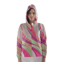 Abstract Colorful Background Wavy Hooded Wind Breaker (women)