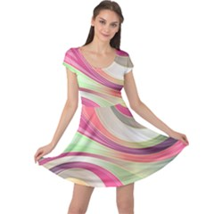 Abstract Colorful Background Wavy Cap Sleeve Dresses