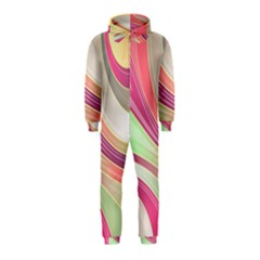 Abstract Colorful Background Wavy Hooded Jumpsuit (Kids)