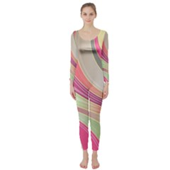 Abstract Colorful Background Wavy Long Sleeve Catsuit