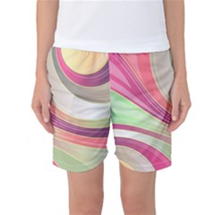 Abstract Colorful Background Wavy Women s Basketball Shorts