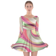 Abstract Colorful Background Wavy Long Sleeve Skater Dress