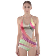 Abstract Colorful Background Wavy Cut Out One Piece Swimsuit