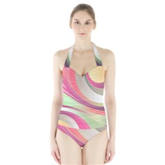 Abstract Colorful Background Wavy Halter Swimsuit