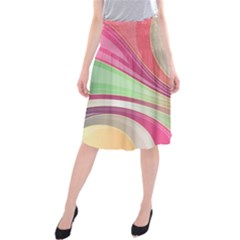 Abstract Colorful Background Wavy Midi Beach Skirt