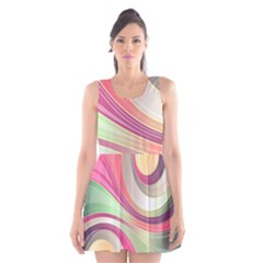 Abstract Colorful Background Wavy Scoop Neck Skater Dress
