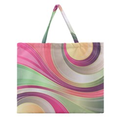 Abstract Colorful Background Wavy Zipper Large Tote Bag