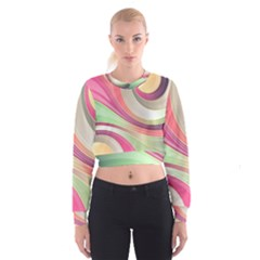 Abstract Colorful Background Wavy Women s Cropped Sweatshirt