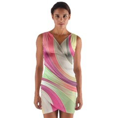 Abstract Colorful Background Wavy Wrap Front Bodycon Dress