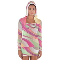 Abstract Colorful Background Wavy Women s Long Sleeve Hooded T-shirt