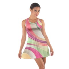 Abstract Colorful Background Wavy Cotton Racerback Dress