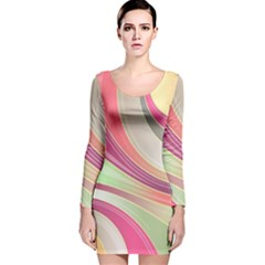 Abstract Colorful Background Wavy Long Sleeve Velvet Bodycon Dress