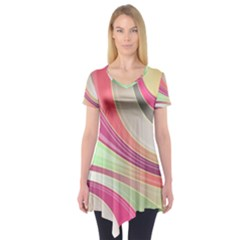 Abstract Colorful Background Wavy Short Sleeve Tunic