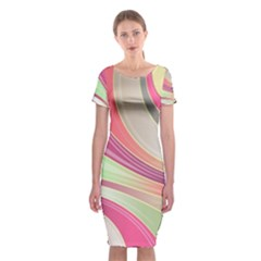 Abstract Colorful Background Wavy Classic Short Sleeve Midi Dress
