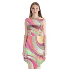 Abstract Colorful Background Wavy Sleeveless Chiffon Dress