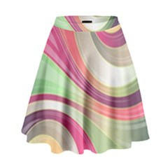 Abstract Colorful Background Wavy High Waist Skirt