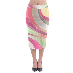 Abstract Colorful Background Wavy Midi Pencil Skirt