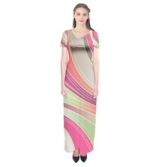 Abstract Colorful Background Wavy Short Sleeve Maxi Dress