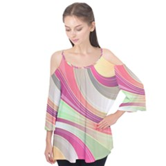 Abstract Colorful Background Wavy Flutter Tees