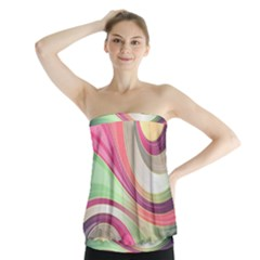 Abstract Colorful Background Wavy Strapless Top