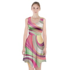 Abstract Colorful Background Wavy Racerback Midi Dress