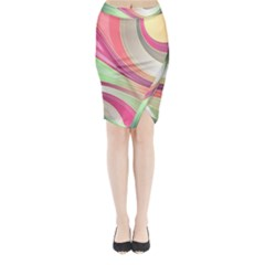 Abstract Colorful Background Wavy Midi Wrap Pencil Skirt