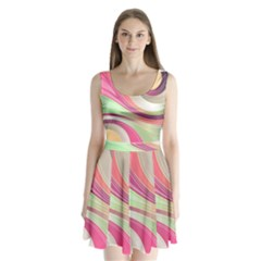Abstract Colorful Background Wavy Split Back Mini Dress