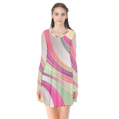 Abstract Colorful Background Wavy Flare Dress
