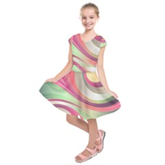 Abstract Colorful Background Wavy Kids  Short Sleeve Dress