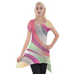Abstract Colorful Background Wavy Short Sleeve Side Drop Tunic