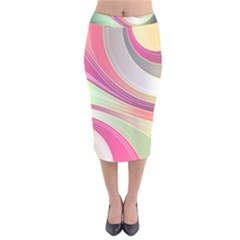 Abstract Colorful Background Wavy Velvet Midi Pencil Skirt