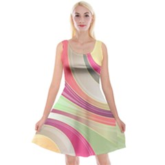 Abstract Colorful Background Wavy Reversible Velvet Sleeveless Dress