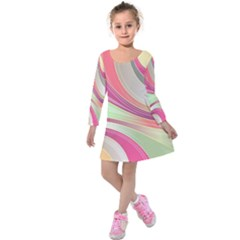 Abstract Colorful Background Wavy Kids  Long Sleeve Velvet Dress